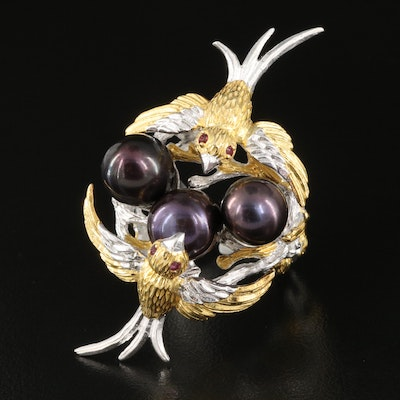 Sterling Pearl and Garnet Swallows with Nest Ring