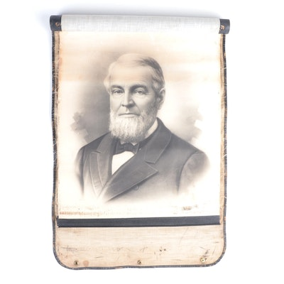 Victorian Artist Crayon Portrait Salesman Sample Scroll With Leather Case