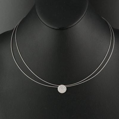 Alor Pavé 0.40 CTW Diamond 18K Disc Pendant on Double Cable Necklace
