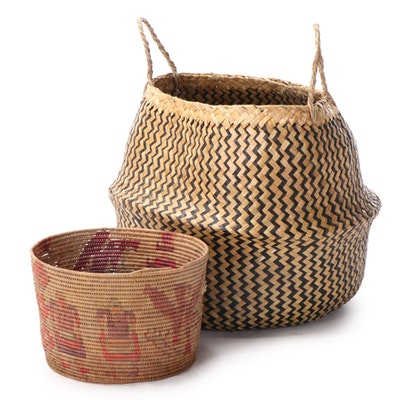 Dyed, Woven Seagrass with Woven Raffia Baskets
