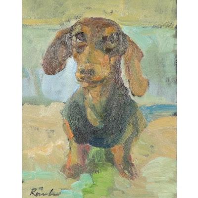 "Sally Rosenbaum Oil Painting ""My Little Friend,"" 21st Century"