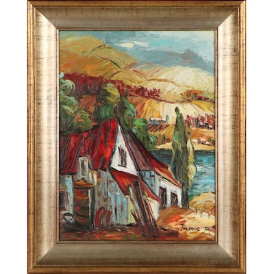 Oil Painting of House, Late 20th Century