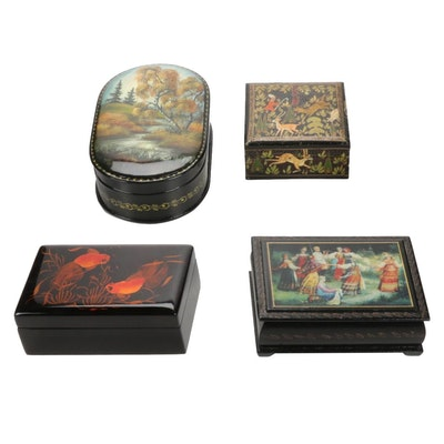 Four Lacquer Ware Boxes, Late 20th to 21st Century