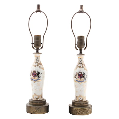 Noritake Hand-Painted Armorial Porcelain Vase Converted Table Lamps
