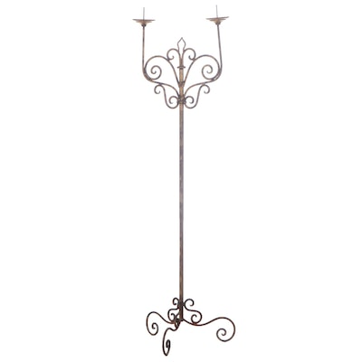 Spanish Colonial Style Scrolled and Gilt Metal Two-Light Floor Candelabrum