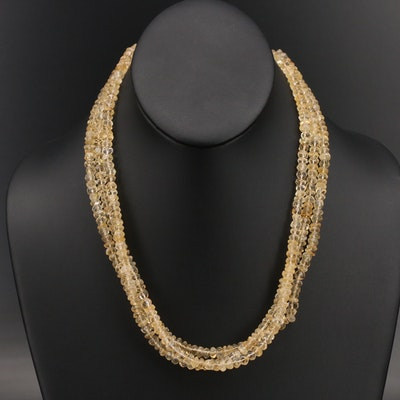 Triple Strand Beaded Citrine Necklace with Sterling Clasp