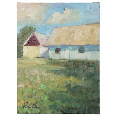 "Sally Rosenbaum Landscape Oil Painting ""The Old Farm Place"""