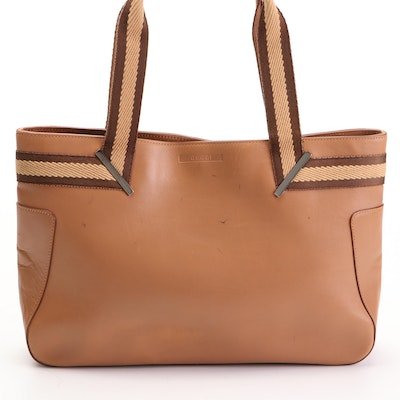 Gucci Web Trimmed Leather Tote Bag