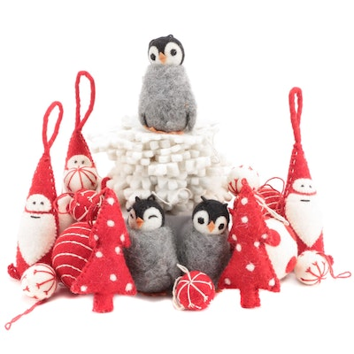 Santa Claus, Penguins, Snowflake and Other Felt Christmas Ornaments