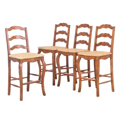 Four French Provincial Style Barstools with Rush Seats