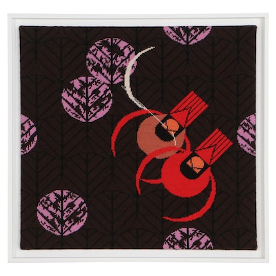 """Needlepoint Panel After Charley Harper """"Redbirds and Redbuds,"""" Late 20th Century"""