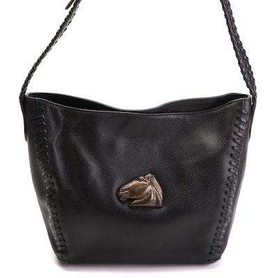 Barry Kieselstein-Cord Black Leather Shoulder Bag with Sterling Silver Accents