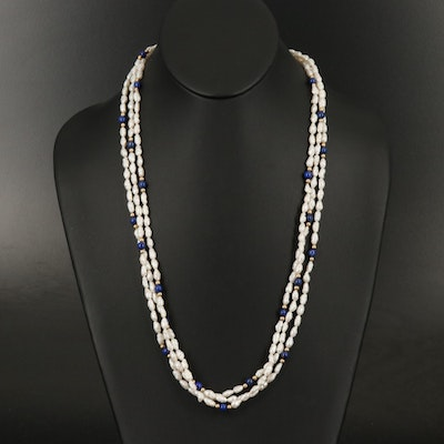 14K Pearl and Lapis Lazuli Multi-Strand Necklace