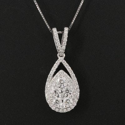 18K 0.75 CTW Diamond Tear Drop Pendant Necklace