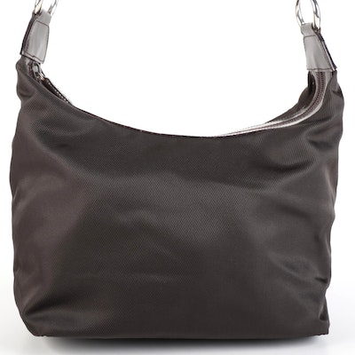 Gucci Shoulder Bag in Brown Nylon and Leather with Bamboo Handle