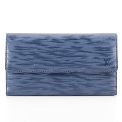 Louis Vuitton Porte Tresor International Wallet Toledo Blue Epi Leather in Box
