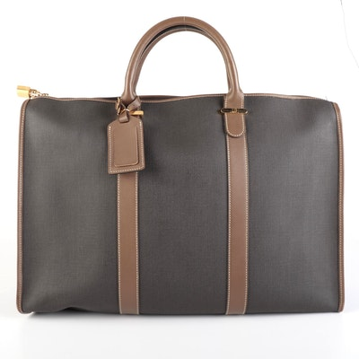 Dunhill Tall Travel Bag in in Herringbone Coated Canvas and Brown Leather