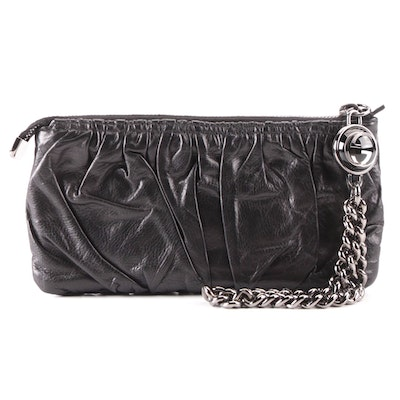 Gucci Zip Pouch in Pleated Leather with Heavy Chain Logo Zipper Pull in Box