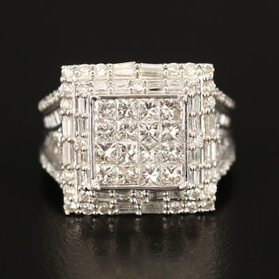 Sterling 2.56 CTW Diamond Tiered Ring