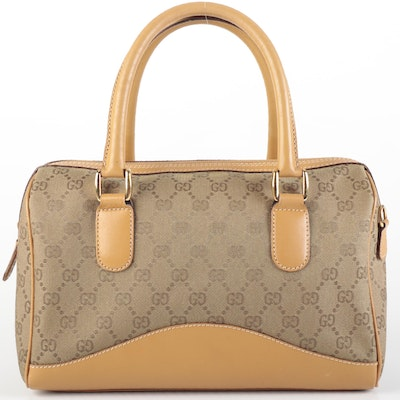 Gucci Boston Bag in GG Canvas and Leather