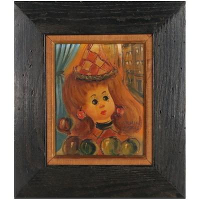 Serini Oil Painting of Stylized Girl, Mid-20th Century