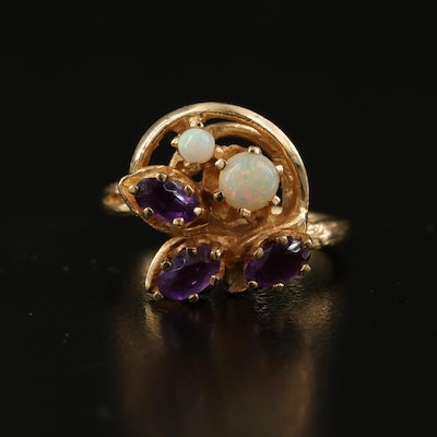 14K Amethyst and Opal Floral Ring