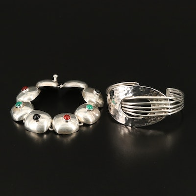 Sterling Cuff and Mexican Sterling Black Onyx, Chalcedony and Carnelian Bracelet