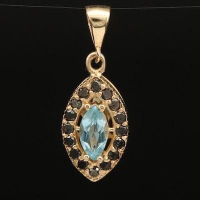 14K Sky Blue Topaz and Diamond Navette Pendant