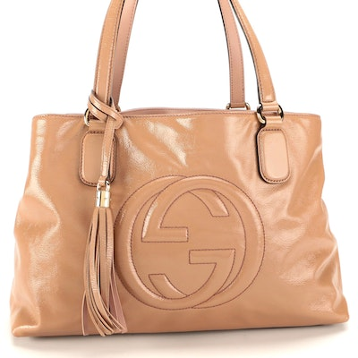 Gucci Soho Working Tote in Beige Patent Leather with Tassel