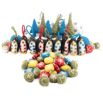 West Elm Penguins, Christmas Trees and Other Felt Christmas Ornaments