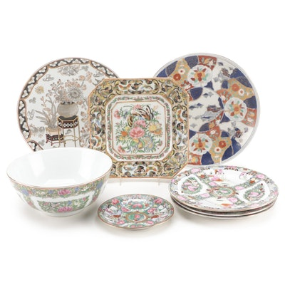 Chinese Famille Rose and Japanese Style Decorative Porcelain Dishes
