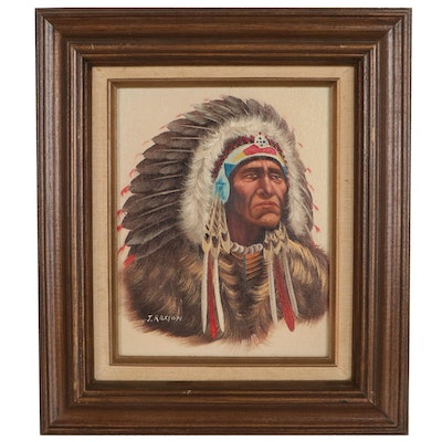 Oil Painting of Native American Figure, Mid to Late 20th Century