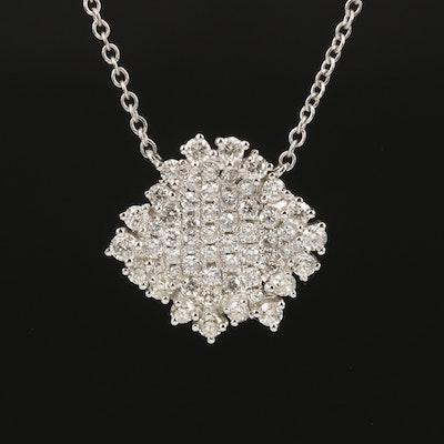 14K 0.85 CTW Pavé Diamond Pendant Necklace