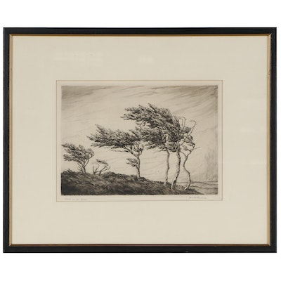 """Harold Thornton Landscape Etching """"Wind in the Trees,"""" Mid-20th Century"""