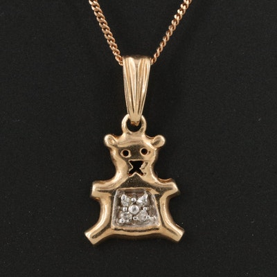 10K 0.004 CTW Diamond Teddy Bear Pendant Necklaces