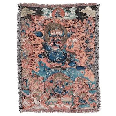 "Machine Woven Pictorial ""Yamantaka"" Jacquard Throw Blanket"