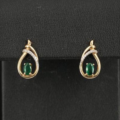 10K Emerald and Diamond Teardrop Earrings