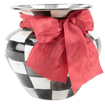 """MacKenzie-Childs """"Courtly Check"""" Enameled Metal Vase with Red Bow"""