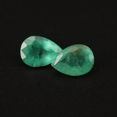 Loose 1.34 CTW Matched Pair of Emeralds