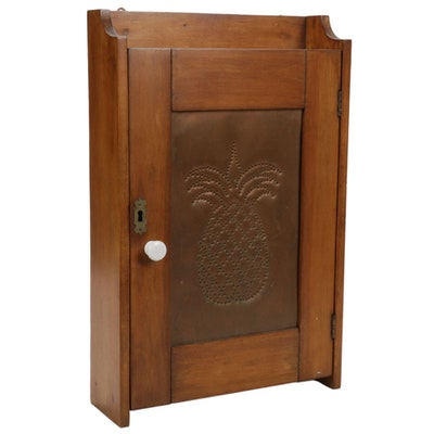 Colonial Style Maple Wall Cabinet with Pierced Copper Panel, Late 20th Century