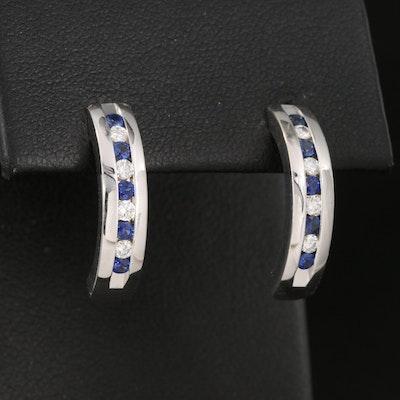 18K Sapphire and 0.16 CTW Diamond J Hoop Earrings