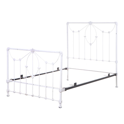 Painted Cast Iron Full Size Bed Frame, Early 20th Century