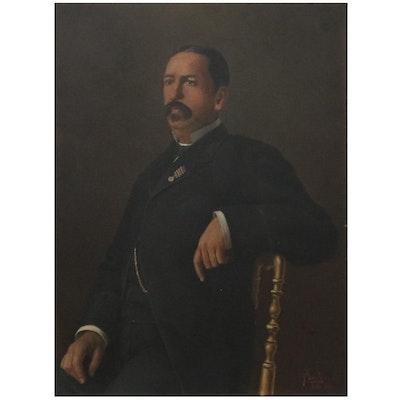 Comingio Merculiano Portrait Oil Painting of Gentleman, 1881