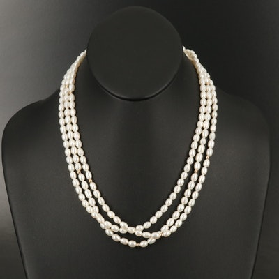 14K Pearl Triple Strand Necklace
