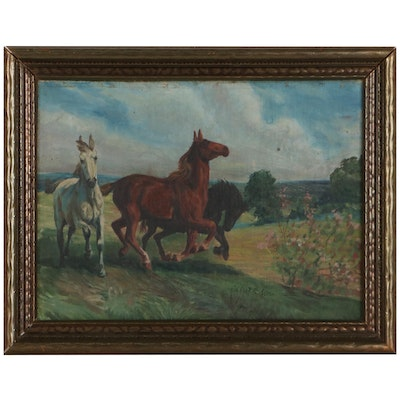 Oil Painting of Horses Galloping, Mid-20th Century