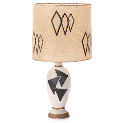 Mid-Century Modern Hand-Painted Table Lamp with Stenciled Shade, Mid-20th C