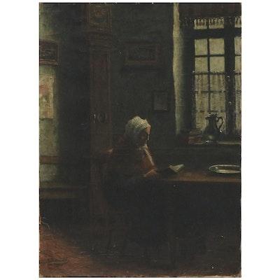 Interior Scene Oil Painting of Elderly Woman, 1900
