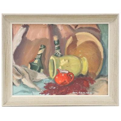 Ann Antenen Still Life Oil Painting of Dishware, 1957