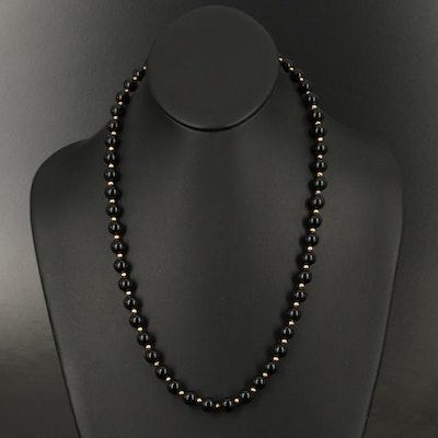 14K Black Onyx Endless Beaded Necklace