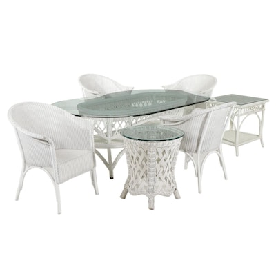 Wicker Weave Furniture Including Two Glass Top Tables and Dining Set
